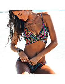 Fashion Multi-color Stripe Pattern Decorated Color Matching Design Swimwear