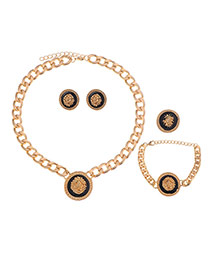 Retro Gold Color Round Pendant Decorated Simple Design Alloy Jewelry Sets
