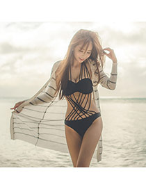 Sexy White Long Sleeve Strip Pattern Decorated Cardigan Design Bikini Cover Up Smock Cotton Swimwear Accessories