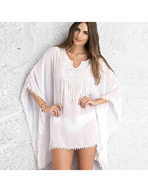 Sexy White Geometric Shape Collar Decorated Loose Short Design Bikini Cover Up Smock Chiffon Swimwear Accessories