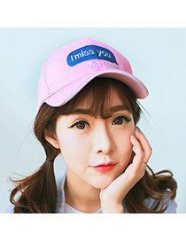 Fashion Pink I Miss You Letter Embroidered Decorated Simple Design  Canvas Baseball Caps