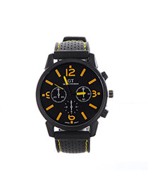 Fashion Yellow Pure Color Decorated Noctilucence Waterproof Design Silica Gel Ladies Watches