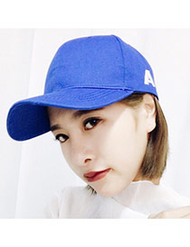 Fashoin Sapphire Blue Letter A Embroidery Decorated Pure Color Design Canvas Baseball Caps