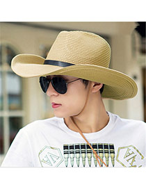 Fashoin Beige Belt Buckle Decorated Pure Colore Round Eaves Design  Straw Sun Hats