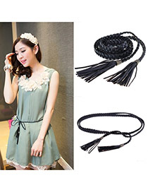 Fashion Black Tassel Decorated Weave Design  Pu Thin belts