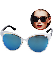 Personality Blue Cat Eyes Shape Frame Simple Design
