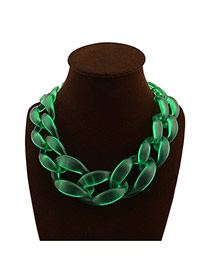 Exaggerate Transparent Green Chain Shape Weaving Decorated Pure Color Short Design Acrylic Bib Necklaces
