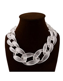 Exaggerate Transparent White Chain Shape Weaving Decorated Pure Color Short Design Acrylic Bib Necklaces