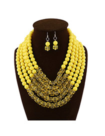 Fashion Yellow Beads Decorated Multilayer Collar Shape Design  Acrylic Jewelry Sets