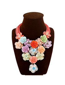 Temperamental Multi-color Flower Tassel Pendant Decorated Multilayer Collar Design Rosin Bib Necklaces