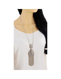 Retro Silver Color Tassel Decorated Water Drop Shape Design Alloy Chains