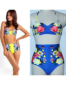 Sexy Sapphire Blue Peony Pattern Decorated High Waist Design  Polyester Sexy Bikini