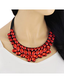 Exaggerate Red Double Layer Diamond Decorated Collar Design Acrylic Bib Necklaces