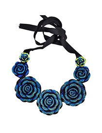 Vintage Blue Big Flower Decorated Collar Design Alloy Bib Necklaces