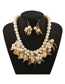Exaggerate White Leaves&beads Weaving Decorated Short Design Alloy Jewelry Sets