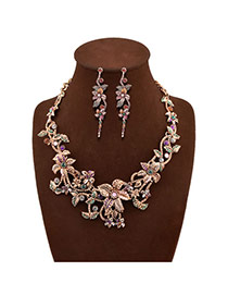Elegant Multi-color Multilayer Flower Shape Decorated Simple Design Alloy Jewelry Sets