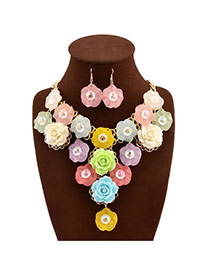 Sweet Multi-color Flower Tassel Pendant Decorated Collar Design Alloy Jewelry Sets