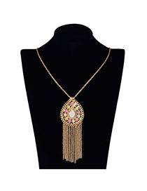 Vintage Yellow Long Tassel&waterdrop Shape Pendant Decorated Simple Design Alloy Chains