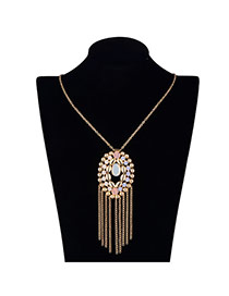 Vintage Yellow Long Tassel&oval Shape Pendant Decorated Simple Design Alloy Chains