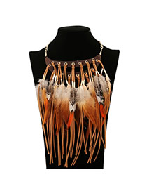 Vintage Yellow Feather Tassel Decorated Short Chain Design Pu Tassel Necklaces