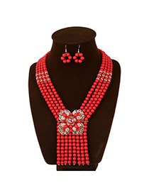 Exaggerate Red Flower Decorated Multilayer Tie Shape Design Acrylic Jewelry Sets