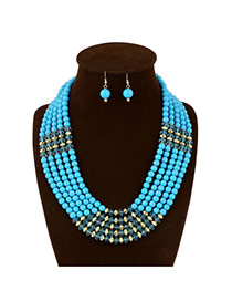 Ethnic Light Blue Pure Color Decorated Multilayer Design Acrylic Jewelry Sets