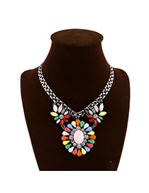 Exaggerate Multi-color Round Flower Shape Pendant Decorated Short Chain Design