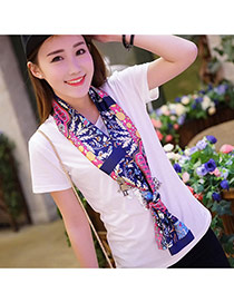 Retro Sapphire Blue Branch Pattern Decorated Duplex Design  Imitated Silk Fabric Thin Scaves