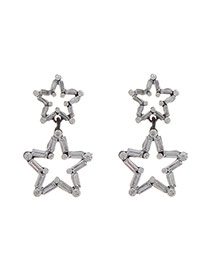 Retro Gun Balck Diamond Decorated Double Stars Shape Design