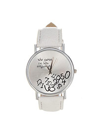 Fashion White Letter&digital Pattern Decorated Pure Color Design  Pu Ladies Watches