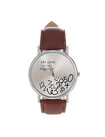Fashion Coffee Letter&digital Pattern Decorated Pure Color Design  Pu Ladies Watches
