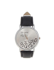 Fashion Black Letter&digital Pattern Decorated Pure Color Design  Pu Ladies Watches