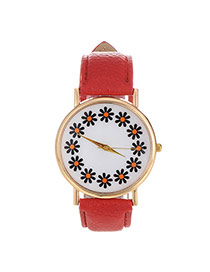 Elegant Red Flowers Pattern Decorated Pure Color Design  Pu Ladies Watches