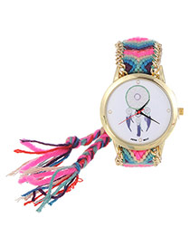 Vintage Pink+purple Wind Chimes Pattern Decorated Hand-woven Strap Design  Fabric Ladies Watches