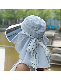 Trending Light Gray Bowknot Decorated Large Brim Lenses Design(rondom Color Straps)  Fabric Sun Hats