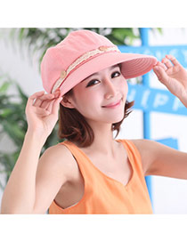 Trending Pink Button&lence Decorated Folding Design  Fabric Sun Hats