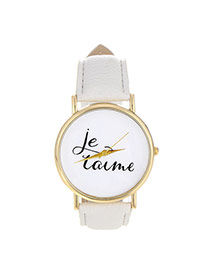 Fashion White Letter Pattern Decorated Simple Design  Pu Ladies Watches