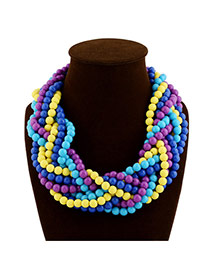 Exaggerate Purple Beads Weaving Decorated Multilayer Design Acrylic Beaded Necklaces
