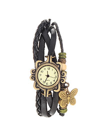 vintage Black Butterfly Shape Decorated Multilayer Design Pu Ladies Watches