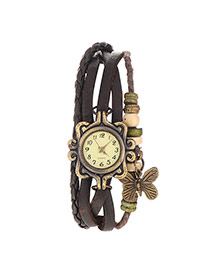 vintage Dark Brown Butterfly Shape Decorated Multilayer Design Pu Ladies Watches