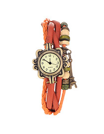 vintage Orange Eiffel Tower Shape Decorated Multilayer Design Pu Ladies Watches
