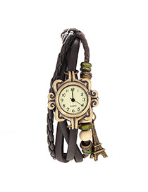 vintage Dark Brown Eiffel Tower Shape Decorated Multilayer Design Pu Ladies Watches