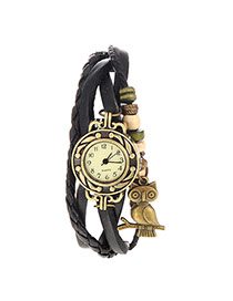 vintage Black Owl Shape Decorated Multilayer Design Pu Ladies Watches