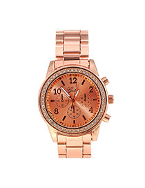 Fashion Rose Gold Diamond Decorated Small Seconds Round Case Design Alloy Men's Watches