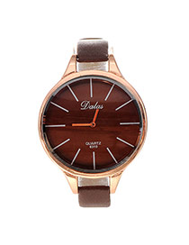 Personality Coffee Lines Decorated Round Case Design Pu Ladies Watches