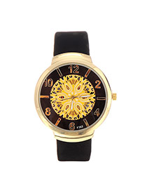 Retro Balck Arabic Numbers Decorated Hollow Out Round Case Design Pu Ladies Watches