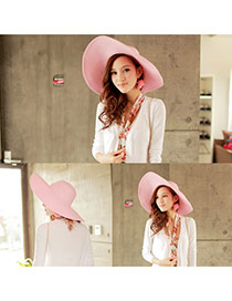 Fashoin Pink Spring and summer Seaside Beach Straw Sun Hats