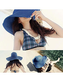 Fashoin Dark Blue Spring and summer Seaside Beach Straw Sun Hats