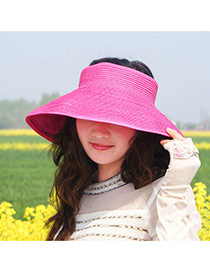 Fashoin Plum Red Big Bowknot Decorated No Top Wide Eaves Design  Straw Sun Hats