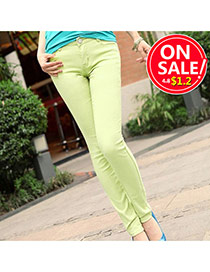 Fashion Light Green Candy Color Slim Design Fabric Trousers